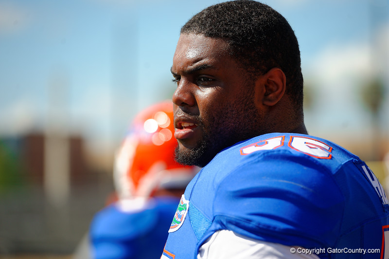 Florida Gators defensive lineman Thomas Holley gets a rest between drills.  Florida Gators Football Sixth Spring Practice.  March 25th, 2016. Gator Country photo by David Bowie.