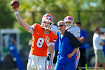 Florida Gators quarterback Skyler Mornhinweg throws downfield.  Florida Gators Football Sixth Spring Practice.  March 25th, 2016. Gator Country photo by David Bowie.