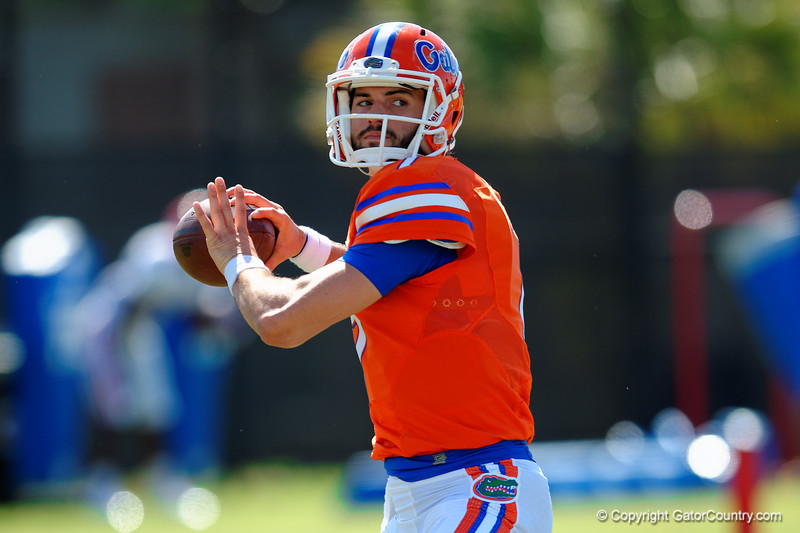 Florida Gators quarterback Will Grier throwing during a quarterbacks drill.  Florida Gators Football Sixth Spring Practice.  March 25th, 2016. Gator Country photo by David Bowie.