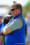 Florida Gators head coach Jim McElwain watches on as the Gators continue spring practice.  Florida Gators Football Sixth Spring Practice.  March 25th, 2016. Gator Country photo by David Bowie.
