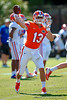 A Florida Gators quarterback throws downfield during a throwing drill.  Florida Gators Football Sixth Spring Practice.  March 25th, 2016. Gator Country photo by David Bowie.