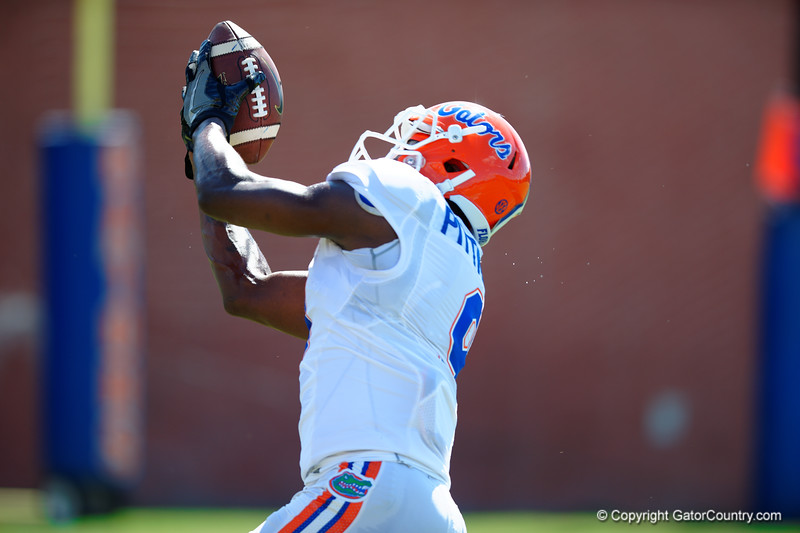 Florida Gators wide receiver Latroy Pittman makes an over the shoulder catch.  Florida Gators Football Sixth Spring Practice.  March 25th, 2016. Gator Country photo by David Bowie.