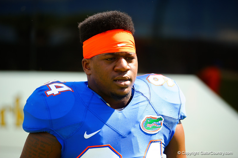 Florida Gators defensive lineman Bryan Cox, Jr. walks off the bus and towards the practice field.  Florida Gators Football Sixth Spring Practice.  March 25th, 2016. Gator Country photo by David Bowie.