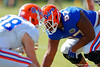 Florida Gators defensive lineman Caleb Brantley lines up awaiting the snap.  Florida Gators Football Sixth Spring Practice.  March 25th, 2016. Gator Country photo by David Bowie.