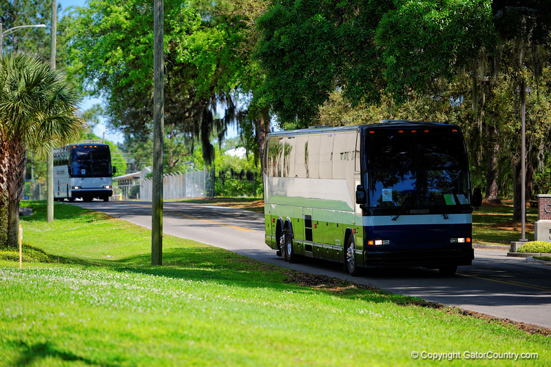 The buses arrive at Dizney Plaza carrying the Gators to practice.  Florida Gators Football Sixth Spring Practice.  March 25th, 2016. Gator Country photo by David Bowie.