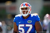 Florida Gators defensive lineman Caleb Brantley jogs to hsi next drill.  Florida Gators Football Sixth Spring Practice.  March 25th, 2016. Gator Country photo by David Bowie.