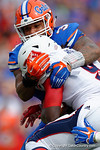 Florida Gators linebacker Antonio Morrison makes a tackle on FAU running back Greg Howell during the first half as the Florida Gators take on the Florida Atlantic University Owls.  November 21st, 2015. Gator Country photo by David Bowie.