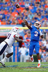 Florida Gators quarterback Treon Harris throws deep downfield during the first half as the Florida Gators take on the Florida Atlantic University Owls.  November 21st, 2015. Gator Country photo by David Bowie.