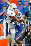 Florida Gators defensive back Brian Poole breaks up the 4th and Goal pass to FAU tight end Nate Terry to end the game giving the Florida Gators the 20-16 win over the Florida Atlantic Owls in overtime.  November 21st, 2015. Gator Country photo by David Bowie.