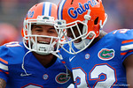 Florida Gators defensive back Jalen Tabor and Florida Gators running back Jordan Cronkrite during pregame drills as the Florida Gators take on the Florida Atlantic University Owls.  November 21st, 2015. Gator Country photo by David Bowie.