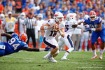FAU quarterback Jason Driskel rolls out during the first half as the Florida Gators take on the Florida Atlantic University Owls.  November 21st, 2015. Gator Country photo by David Bowie.