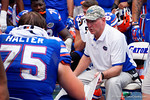 Florida Gators offensive line coach Mike Summers coaches up his offensive line during the second half as the Florida Gators take on the Florida Atlantic University Owls.  November 21st, 2015. Gator Country photo by David Bowie.