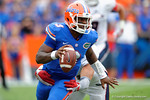 Florida Gators quarterback Treon Harris trys to break free of a tackle during the first half as the Florida Gators take on the Florida Atlantic University Owls.  November 21st, 2015. Gator Country photo by David Bowie.