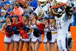 The FAU Owl and some of their cheerleaders cheer on during overtime as the Florida Gators take on the Florida Atlantic University Owls.  November 21st, 2015. Gator Country photo by David Bowie.
