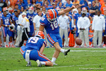 Florida Gators kicker Austin Hardin kicks in an extra point during the second half as the Florida Gators take on the Florida Atlantic University Owls.  November 21st, 2015. Gator Country photo by David Bowie.