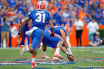 Florida Gators offensive lineman Taven Bryan picks up a fumble and runs to the 2 yard line during the second half as the Florida Gators take on the Florida Atlantic University Owls.  November 21st, 2015. Gator Country photo by David Bowie.