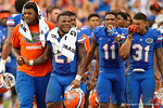 Kelvin Taylor, Demarcus Robinson, Jalen Tabor and the Florida Gators celebrate their overtime win over the FAU Owls 20-14.  November 21st, 2015. Gator Country photo by David Bowie.