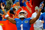 Florida Gators defensive back Vernon Hargreaves, III raises his arms to the sky as he takes the field, as the Gators get set for their contest against Florida Atlantic University Owls.  November 21st, 2015. Gator Country photo by David Bowie.