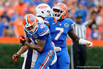 Florida Gators defensive back Jalen Tabor and Florida Gators safety Duke Dawson celebrate during the first half as the Florida Gators take on the Florida Atlantic University Owls.  November 21st, 2015. Gator Country photo by David Bowie.
