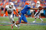 Florida Gators defensive back Jalen Tabor just quite hang on to a potential interception during the second half as the Florida Gators take on the Florida Atlantic University Owls.  November 21st, 2015. Gator Country photo by David Bowie.