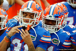 Florida Gators defensive back Jalen Tabor and Florida Gators running back Kelvin Taylor take the field as the Florida Gators take on the Florida Atlantic University Owls.  November 21st, 2015. Gator Country photo by David Bowie.