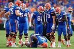 The Florida Gators offense surrounds Florida Gators quarterback Treon Harris as Harris stays down for a bit during the second half as the Florida Gators take on the Florida Atlantic University Owls.  November 21st, 2015. Gator Country photo by David Bowie.
