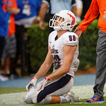 FAU tight end Jenson Stoshak reacts to their overtime loss to the Florida Gators 20-16.  November 21st, 2015. Gator Country photo by David Bowie.