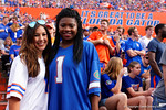 Gator Country's Jenna Ladd and a friend during the second half as the Florida Gators take on the Florida Atlantic University Owls.  November 21st, 2015. Gator Country photo by David Bowie.
