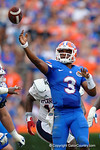 Florida Gators quarterback Treon Harris throws deep during the second half as the Florida Gators take on the Florida Atlantic University Owls.  November 21st, 2015. Gator Country photo by David Bowie.