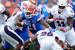 Florida Gators running back Kelvin Taylor rushing during the first half as the Florida Gators take on the Florida Atlantic University Owls.  November 21st, 2015. Gator Country photo by David Bowie.