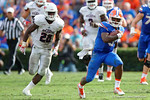 Florida Gators quarterback Treon Harris on a quarterback keeper downfield during the second half as the Florida Gators take on the Florida Atlantic University Owls.  November 21st, 2015. Gator Country photo by David Bowie.