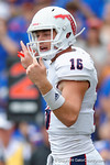 FAU quarterback Jason Driskel signaling a play during the second half as the Florida Gators take on the Florida Atlantic University Owls.  November 21st, 2015. Gator Country photo by David Bowie.