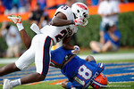 Florida Gators wide receiver Antonio Callaway catches a deep pass and falls into the endzone during the second half as the Florida Gators take on the Florida Atlantic University Owls.  November 21st, 2015. Gator Country photo by David Bowie.