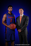 Florida Gators head coach Mike White and Florida Gators guard Brandone Francis-Ramirez pose for portraits during the 2015 Gators basketball media day.  September 29th, 2015. Gator Country photo by David Bowie.