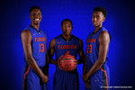 The Florida Gators 2015 freshmen class Florida Gators Kevarrius Hayes, KeVaughn Allen and Keith Stone pose for portraits during the 2015 Gators basketball media day.  September 29th, 2015. Gator Country photo by David Bowie.