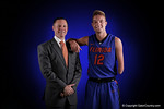 Florida Gators head coach Mike White and Florida Gators guard Zach Hodskins pose for portraits during the 2015 Gators basketball media day.  September 29th, 2015. Gator Country photo by David Bowie.