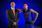 Florida Gators head coach Mike White and Florida Gators guard Chris Chiozza pose for portraits during the 2015 Gators basketball media day.  September 29th, 2015. Gator Country photo by David Bowie.