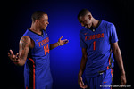 Florida Gators guard Lexx Edwards and Florida Gators guard DeVon Walker having fun with their portraits during the 2015 Gators basketball media day.  September 29th, 2015. Gator Country photo by David Bowie.