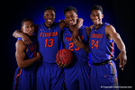 The Florida Gators 2015 freshmen class Florida Gators Kevarrius Hayes, KeVaughn Allen and Keith Stone pose for portraits along with trasnfer Florida Gators guard Justin Leon during the 2015 Gators basketball media day.  September 29th, 2015. Gator Country photo by David Bowie.