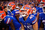 Florida Gators linebacker R.J. Raymond waits to take the field during the Gators 61-13 win over New Mexico State to start the 2015 season.  September 5th, 2015.  Gator Country Photo by David Bowie.