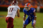 Florida Gators defensive back Vernon Hargreaves, III lines up during the Gators 61-13 win over New Mexico State to start the 2015 season.  September 5th, 2015.  Gator Country Photo by David Bowie.