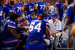 Florida Gators offensive line coach Mike Summers talks with his offensive line during the Gators 61-13 win over New Mexico State to start the 2015 season.  September 5th, 2015.  Gator Country Photo by David Bowie.