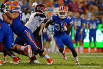 Florida Gators running back Jordan Cronkrite rushing downfield during the 61-13 win over New Mexico State.  September 5th, 2015.  Gator Country Photo by David Bowie.