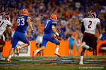Florida Gators quarterback Will Grier sprints downfield during the Gators 61-13 win over New Mexico State to start the 2015 season.  September 5th, 2015.  Gator Country Photo by David Bowie.