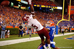 New Mexico State Aggies wide receiver Tyrain Taylor leaps over Florida Gators cornerback Quincey Wilson in the endzone but the ball flies over his hand during the Gators 61-13 win over New Mexico State to start the 2015 season.  September 5th, 2015.  Gator Country Photo by David Bowie.