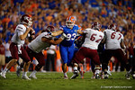 Florida Gators defensive lineman Taven Bryan tries to break through a tackle during the Gators 61-13 win over New Mexico State to start the 2015 season.  September 5th, 2015.  Gator Country Photo by David Bowie.