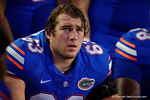 Florida Gators offensive lineman Trip Thurman on the sideline listening to his coach during the Gators 61-13 win over New Mexico State to start the 2015 season.  September 5th, 2015.  Gator Country Photo by David Bowie.