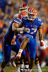 Florida Gators defensive lineman Justus Reed gets a sack and celebrates afterwards during the Gators 61-13 win over New Mexico State to start the 2015 season.  September 5th, 2015.  Gator Country Photo by David Bowie.