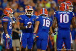 Florida Gators quarterback Treon Harris yells out a play call to Florida Gators wide receiver Valdez Showers during the Gators 61-13 win over New Mexico State to start the 2015 season.  September 5th, 2015.  Gator Country Photo by David Bowie.