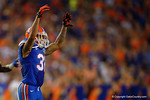 Florida Gators defensive back Jalen Tabor signals to the crowd during the Gators 61-13 win over New Mexico State to start the 2015 season.  September 5th, 2015.  Gator Country Photo by David Bowie.